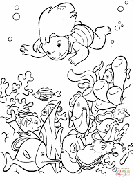 lilo is under water looking at fish and corals coloring page
