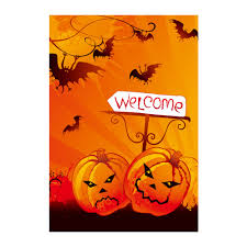 Yard Flags Wholesale Halloween Welcome Decorative Garden Flags With Pumpkin Designed