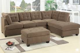 Sectional Sofa With Ottoman Sofa Reversible Chiase Waffle Suede Truffle Ottoman
