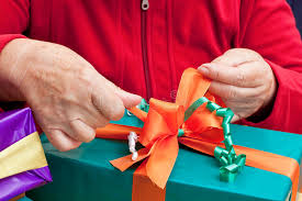 senior citizen gifts senior citizen wrap or unpack gifts stock image image of