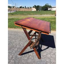Wood Drafting Table Vintage Industrial Wood Cast Iron Tilt Top Drafting Table Chairish