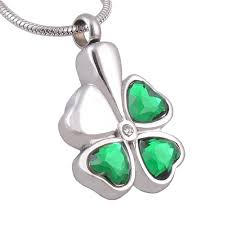 keepsake for ashes stainless steel four leaves clover cremation urn necklace memorial