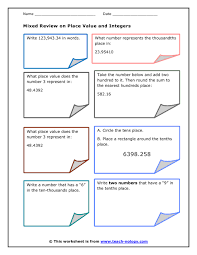 mixed review on place value rounding and integers