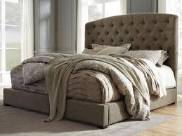King Size Tufted Headboard A Tufted Arched Upholstered Headboard With Curved