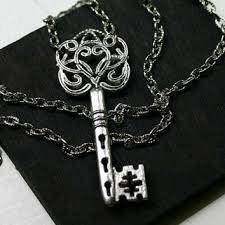 antique silver key necklace images Shop antique skeleton key necklace on wanelo jpg