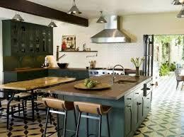 dark green kitchen cabinets cement tile kitchen
