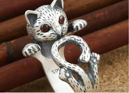 classic cat ring holder images Women lady silver plated cat rings fashion kitten design party cat jpg