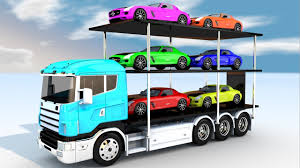 car carrier truck colors for children to learn with wheels car carrier truck