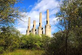 smokestacks from abandoned world war 2 munitions factory in