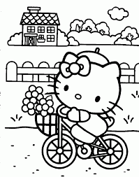 hello kitty riding bicycle coloring page cute pages of