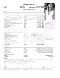 musical theater resume template sample resume cover letter format