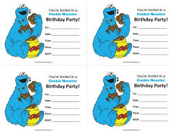 cookie monster birthday invitations free printable