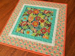 quilted square table toppers quilted square table topper with bright flowers in orange red