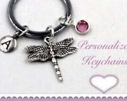 personalized birthstone keychains dragonfly keyring etsy