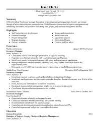 Supply Chain Management Skills For Resume Marvelous Inventory Resume 14 Inventory Management Skills Resume