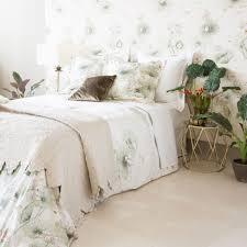 watercolour floral print percale bedlinen linen bedroom bed