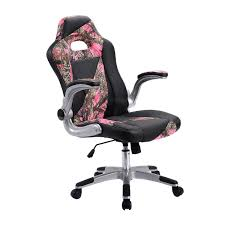 Gaming Chair Desk by Pink Camo Pu Leather High Back Executive Office Chair Office