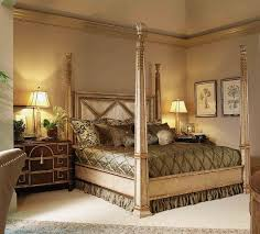 King Sized Bed Set Four Poster Bed Embossed Leather Headboard