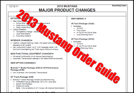 2013 mustang production numbers 2013 mustang order guide released for gt v6 and 302 models