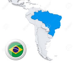 World Map Of South America by Highlighted Brazil On Map Of South America With National Flag