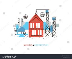 thin line flat design constructing building stock vector 300116459