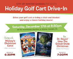holiday golf cart drive in the winter garden experience