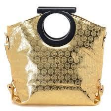 black friday michael kors logo print large gold clutches outlet deals