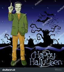 halloween background for poster for physician with green cartoon frankenstein vector halloween stock vector 499206160