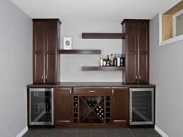 Bar Cabinet With Wine Cooler Durable Brown Teak Wood Corner Bar Cabinet Design With Lattice