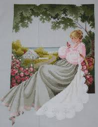 nantucket rose lavender and lace cross stitch picture