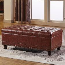 Tufted Storage Bench Classic Tufted Storage Bench Ottoman With Nailhead Trim And Twin