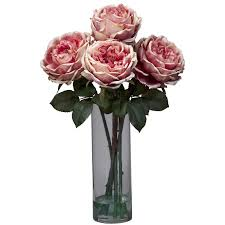 Silk Flowers Arrangements - nearly natural fancy rose with cylinder vase silk floral