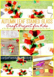 Kids Stained Glass Craft - autumn leaf stained glass craft project for kids large family