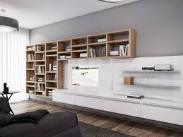 white wooden wall panel with tv combined with two side shelves