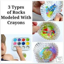 types of rocks types of rocks modeled with crayons