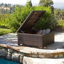 outdoor wicker storage ottoman incredible outdoor storage ottoman with fedor wicker brown