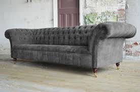 Handmade Chesterfield Sofas Uk Modern Handmade 3 Seater Slate Grey Velvet Chesterfield Sofa