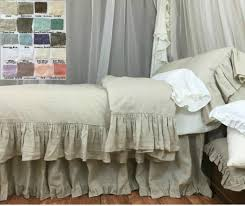 natural linen duvet cover with mermaid long ruffle shabby chic