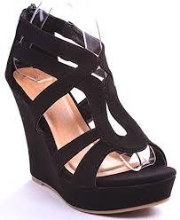 Platform Heels Comfort Jjf Shoes Lindy 3 Black Strappy Nubuck Pu Comfort Gladiator Dress