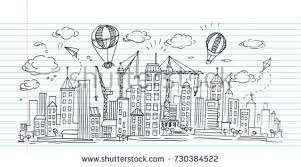 hand drawn city sketch your designdrawn stock vector 525604297