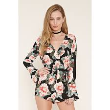 forever 21 rompers and jumpsuits forever 21 s belted surplice floral romper 25 liked on