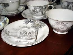vintage hayasi kutani japanese metallic silver mt fuji