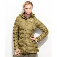 the north face transit hooded down puffer in green lyst