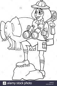 black and white cartoon illustration of cute woman traveler on