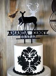 buck and doe cake topper deer silhouette wedding cake topper in mirror and black acrylic