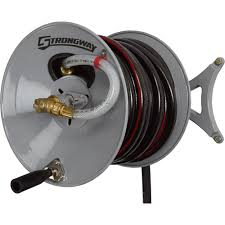 strongway wall mount garden hose reel u2014 holds 150ft x 5 8in hose