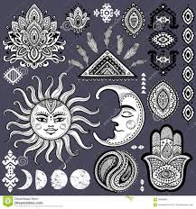 sun moon and ornaments vintage vector set stock vector image