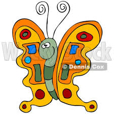 illustration of a colorful orange butterfly with a green and