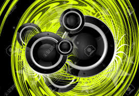 Cool Speakers Cool Green Music Vortex Background Design With Large Black