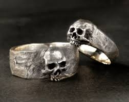 skull wedding rings silver skull wedding ring set solid sterling silver wedding